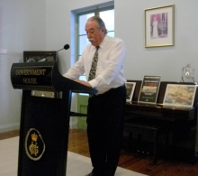 His Honour Mr Tom Pauling AO QC at the Submarine-I-124 launch
